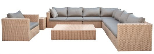 Lounge- Set Oakland, Wicker hellbraun
