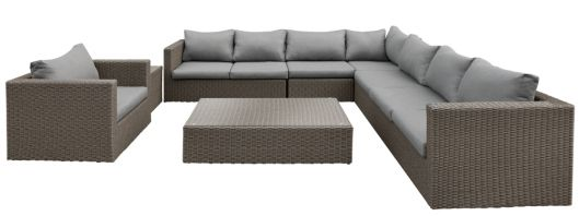 Lounge- Set Daytona, Wicker dunkelbraun