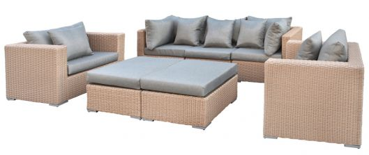Lounge- Set Long Beach, Wicker hellbraun
