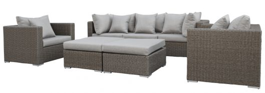 Lounge- Set Damascus, Wicker dunkelbraun