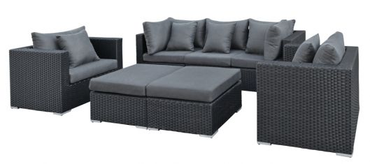 Lounge- Set Bakersfield, Wicker schwarz