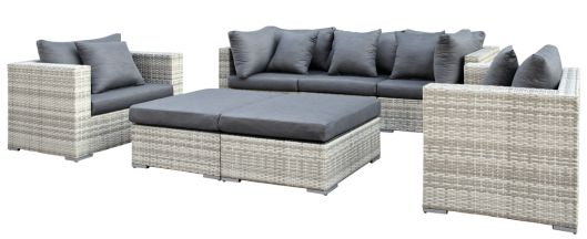Lounge- Set Glendale, Wicker grau meliert