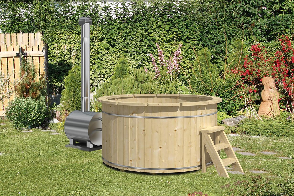 Hot Tub / Badefass Typ 200 aus Fichtenholz mit Aussenofen