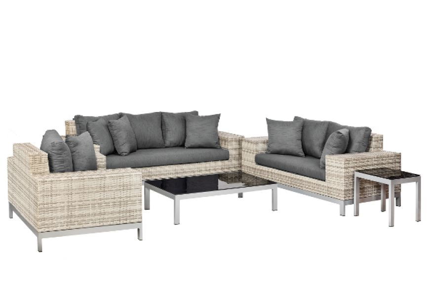 Lounge- Set luxe Nashville, Wicker grau meliert